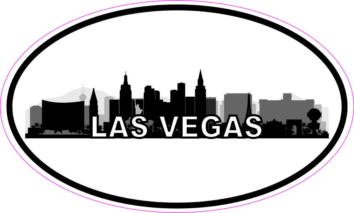 5in X 3in Oval Las Vegas Skyline Sticker Luggage Decal Car Travel Stickers Vegas Skyline Las Vegas Travel Stickers [ 904 x 1502 Pixel ]