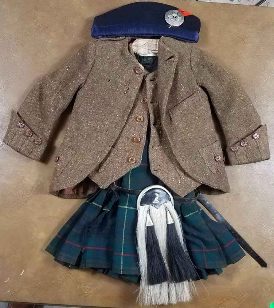 Antique Scottish Child S Kilt W Accessories Jacket Vest Socks Sporran Cap Badge Accessories Jacket Vintage Outfits Vest Jacket