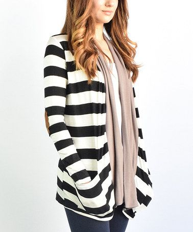 Another great find on #zulily! Mocha Stripe Elbow Patch Cardigan