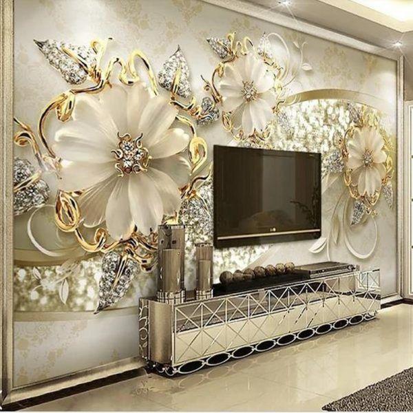 4d Silk Cloth Wall Murals Modern Custom Photo Wallpapers For Living Room Jewelry Flowers Wall Papers Custom Photo Wallpaper Wall Wallpaper Bedroom Murals