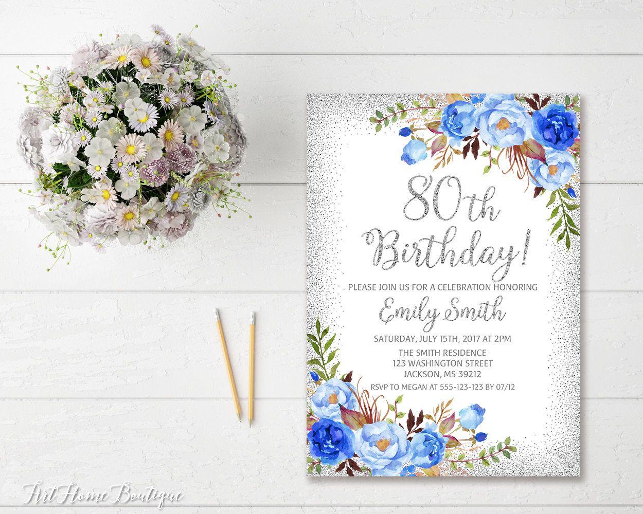 80th Birthday Invitation Any Age Women Birthday Invitation