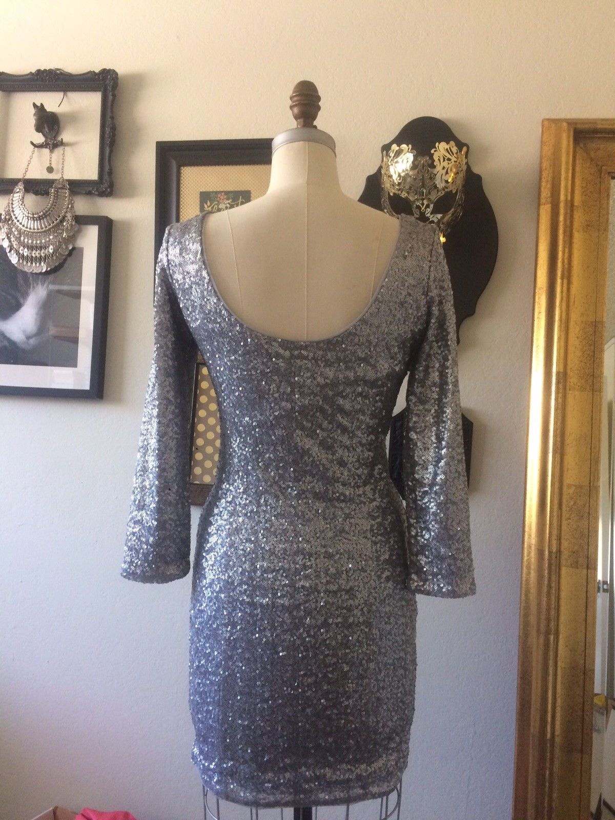 Cool Amazing Orsay Silver Sequin Dress Holiday Christmas Party ...