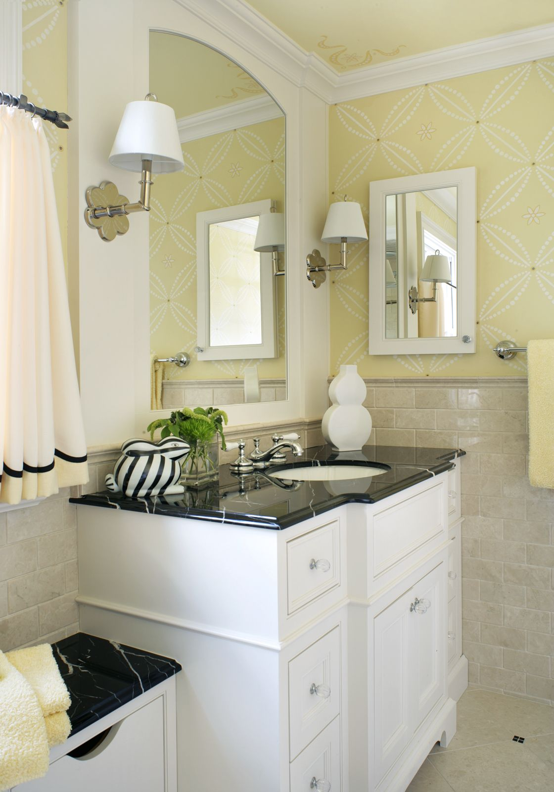 This young girl\'s bathroom is highlighted by Botticino stone and ...