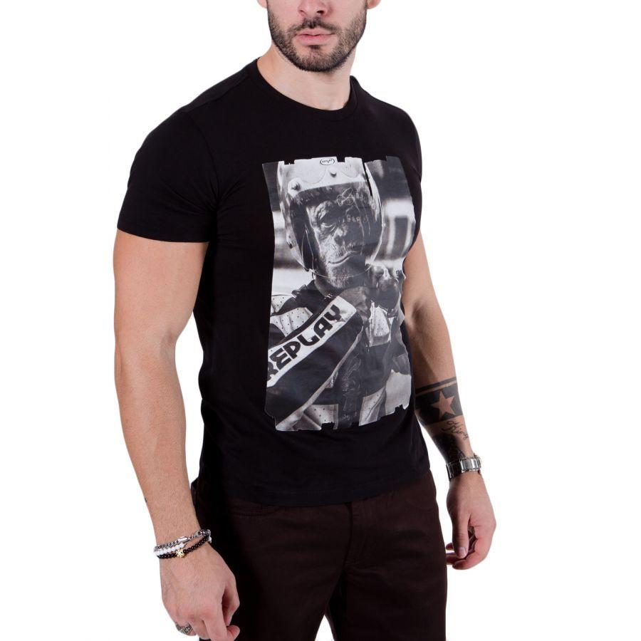 REPLAY Ανδρικό μαύρο κοντομάνικο slim fit μπλουζάκι T-Shirt ... 3f0da574325