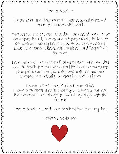 I am a teacher... and thankful for it every day! (Poem)