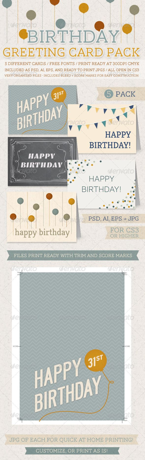 Birthday Greeting Card Pack Pinterest Birthday Greeting Cards