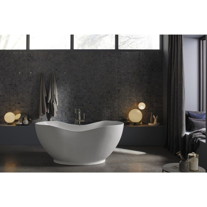 In White With Polished Nickel Full Size Free Standing Bath