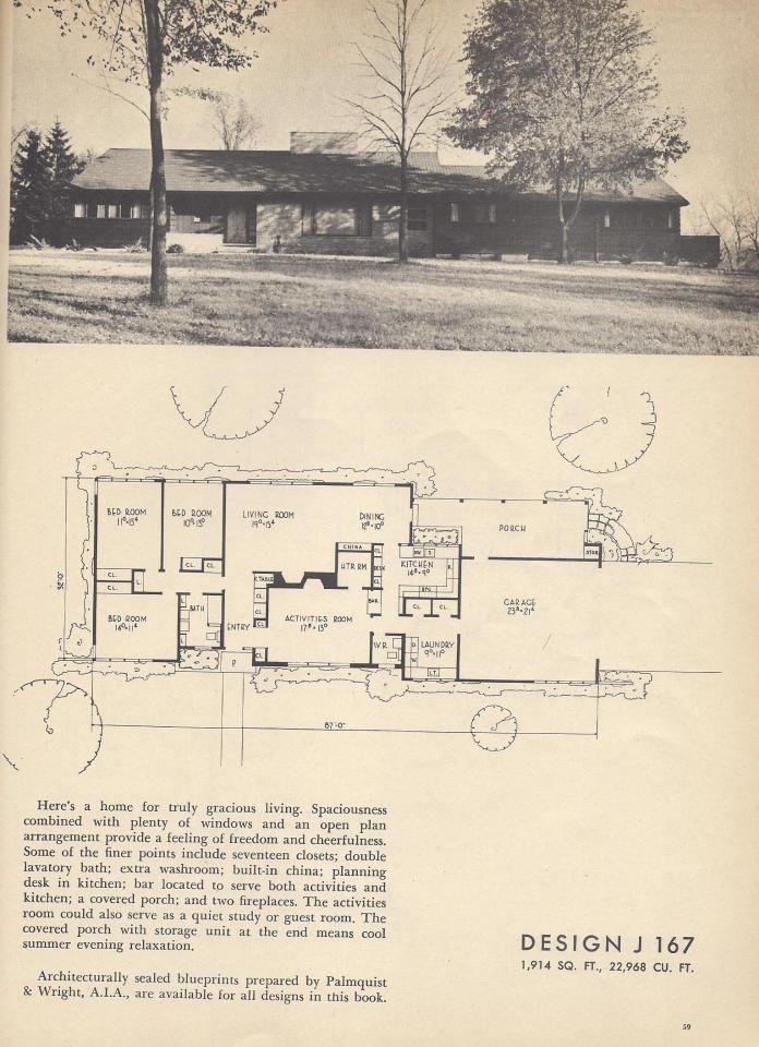 J167 Vintage House Plans, Mid Century House Plans, 1954 Homes  - Mid century house plans