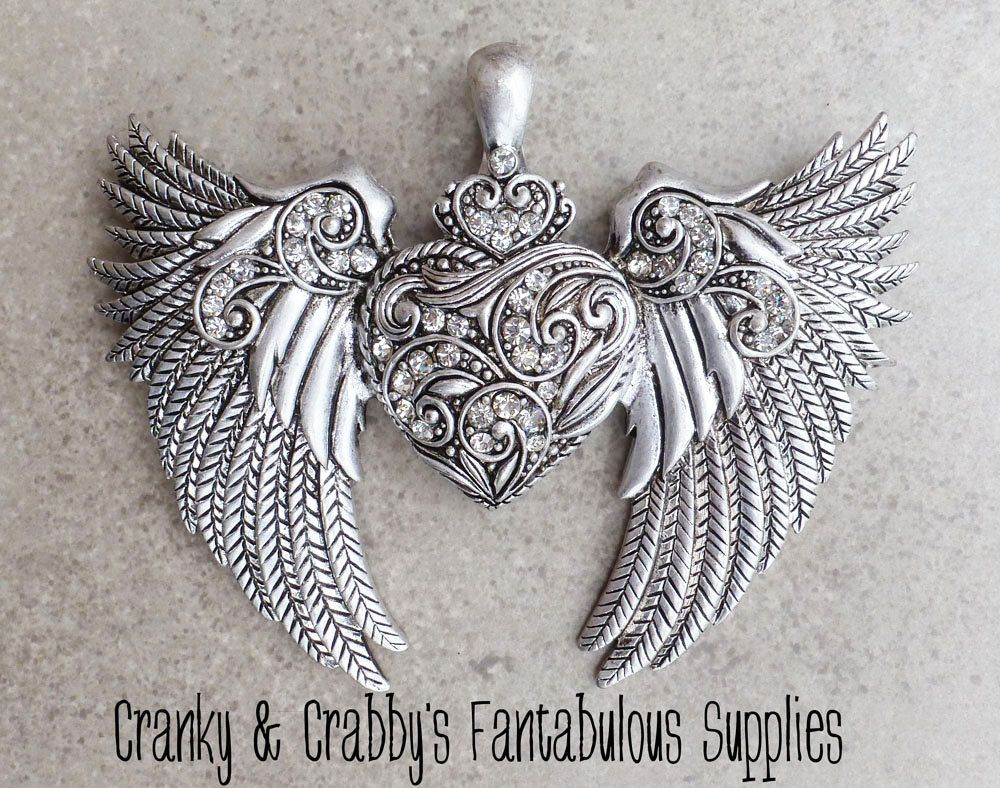 Tribal Western Winged Rhinestone Heart - 75mm x 95mm  - Magnetic clasp - Chunky Necklaces. $9.49, via Etsy.