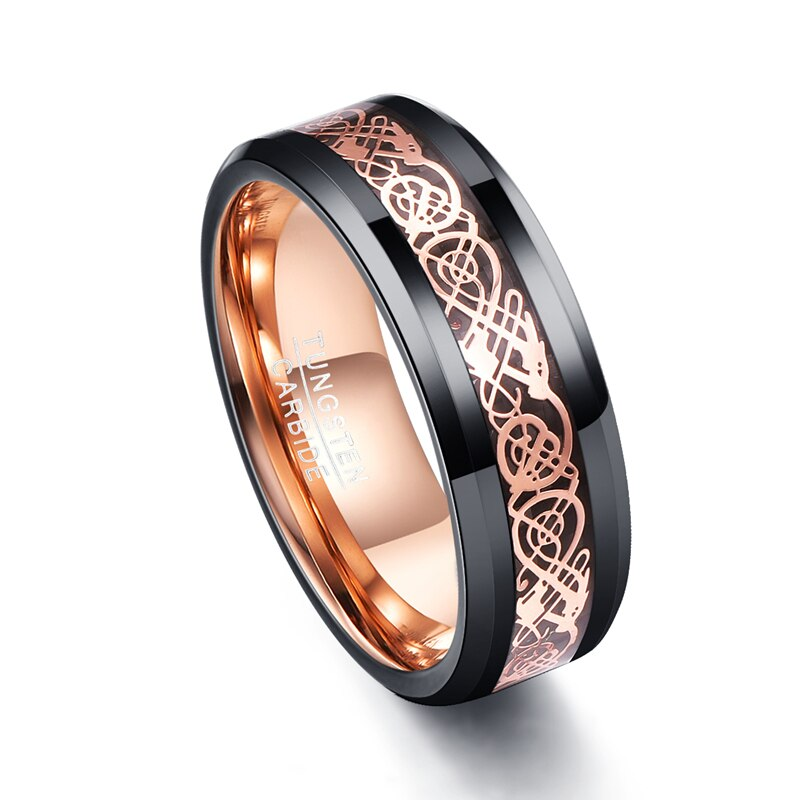 Black & Rose Gold Celtic Inlay Custom Tungsten Ring in