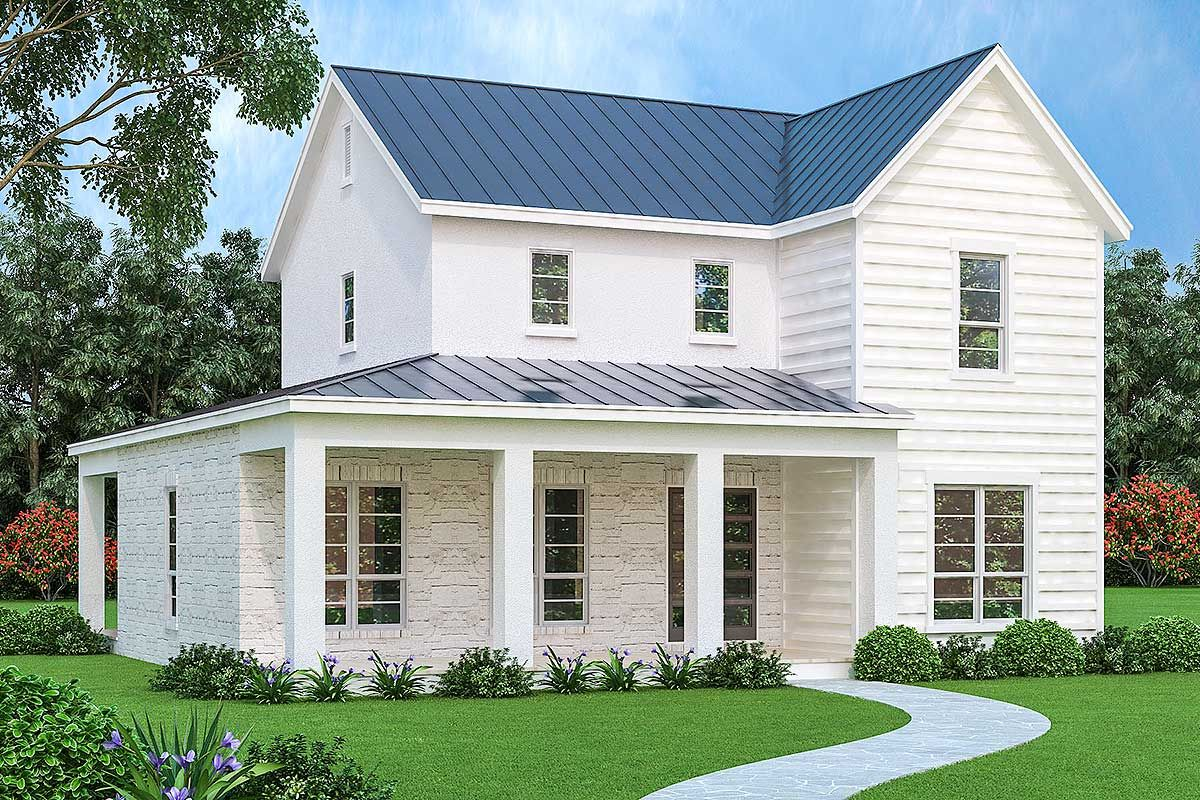 Plan 31190d 3 Bed Farmhouse With Brick Stone And Stucco