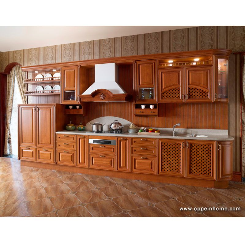 Cherry Solid Wood Kitchen Cabinet Model Op13 007 Wooden Kitchen