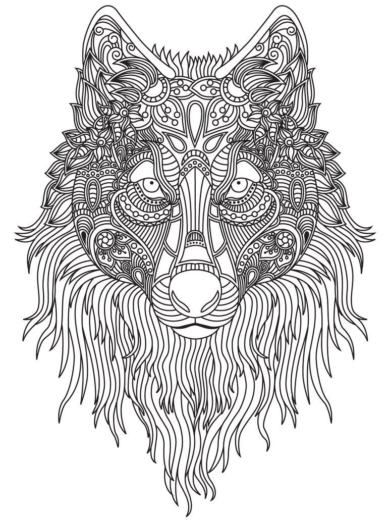 wolf zentangle coloring page animal coloring pages for adults