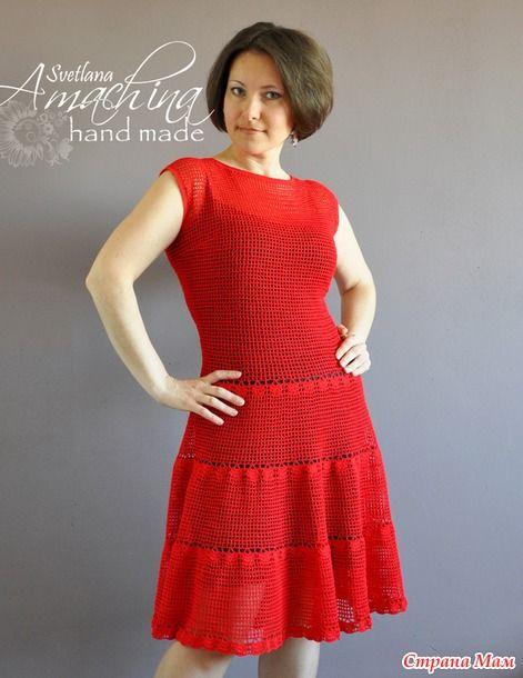 Vestido em Crochê Vermelho com Gráfico - Katia Ribeiro Crochê Moda e  Decoração Handmade c8565158987
