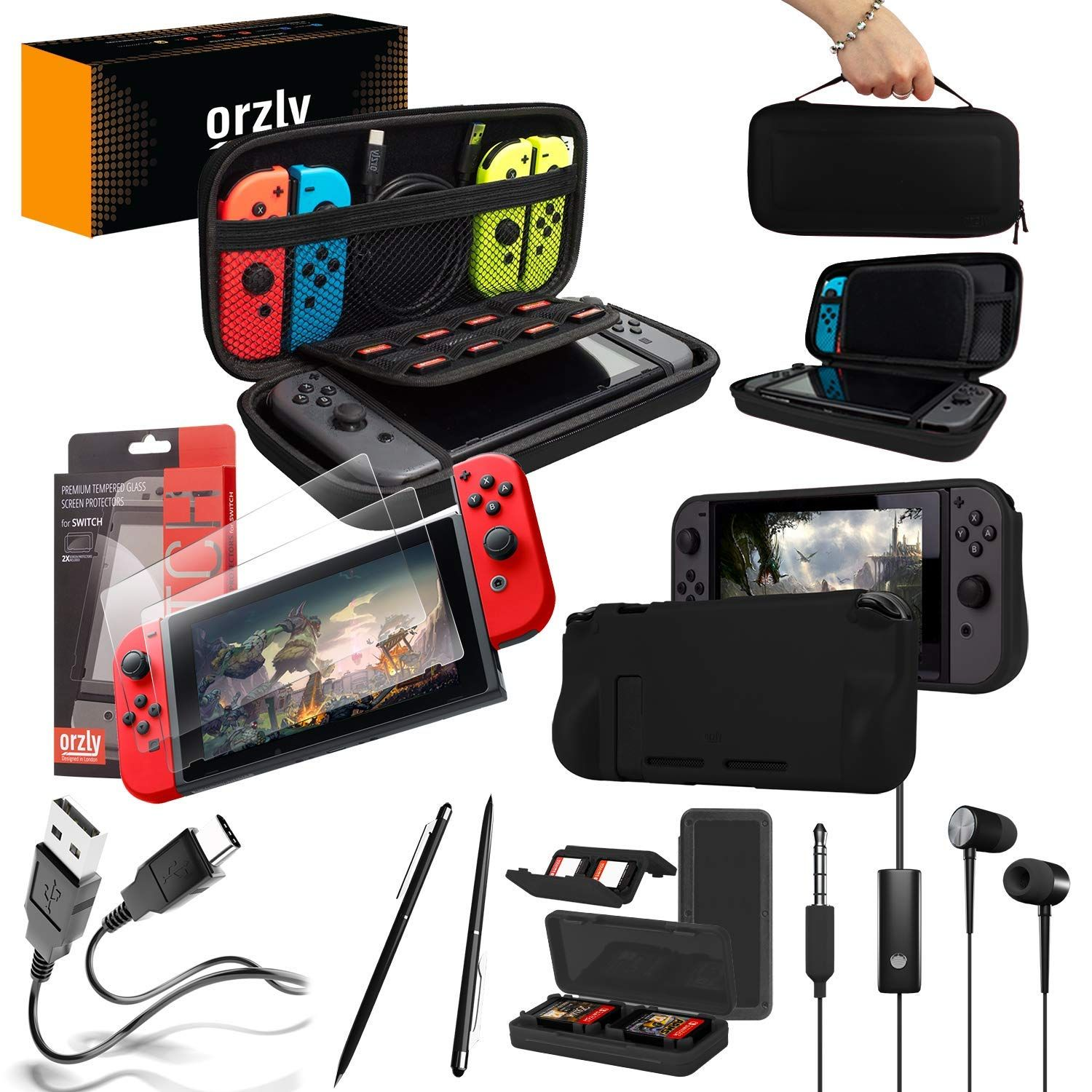 Orzly Switch Accessories Bundle Black Orzly Carry Case For Nintendo Switch Console Tempered Glass Scre Nintendo Switch Case Black Headphones Screen Protector