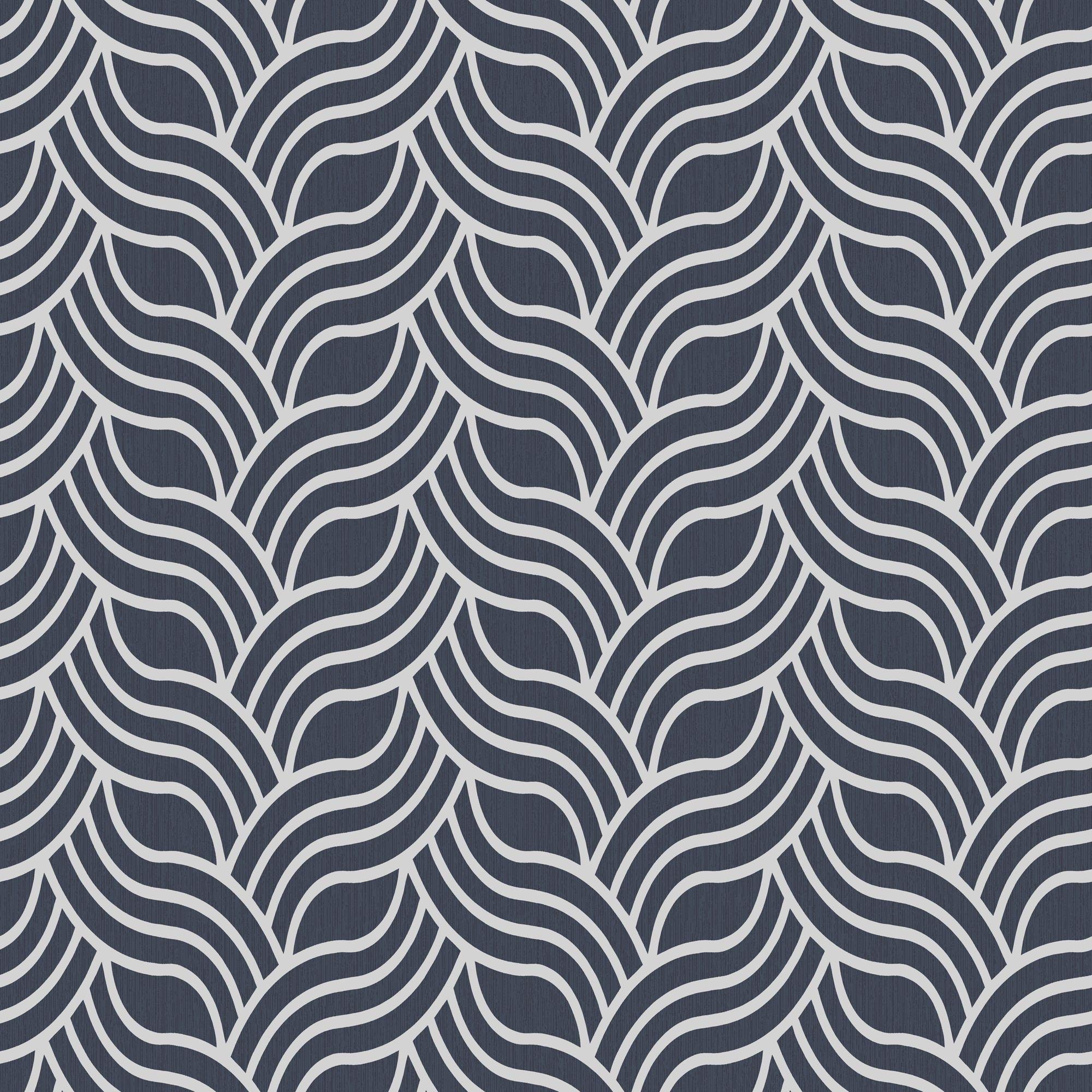 Muriva Precious Silks Blue & Silver Geometric Metallic