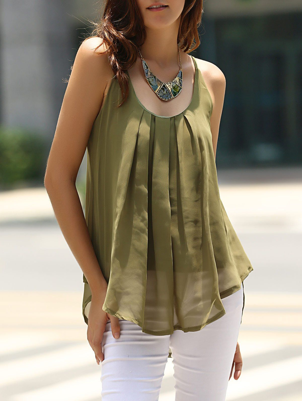 Charming Spaghetti Strap Solid Color Chiffon Tank Top For Women Vests & Tank Tops | RoseGal.com