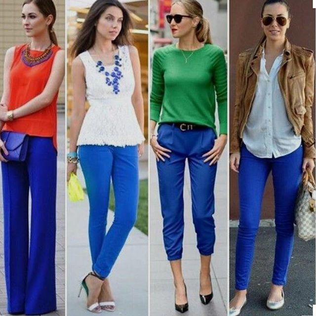 Royal blue pants outfit
