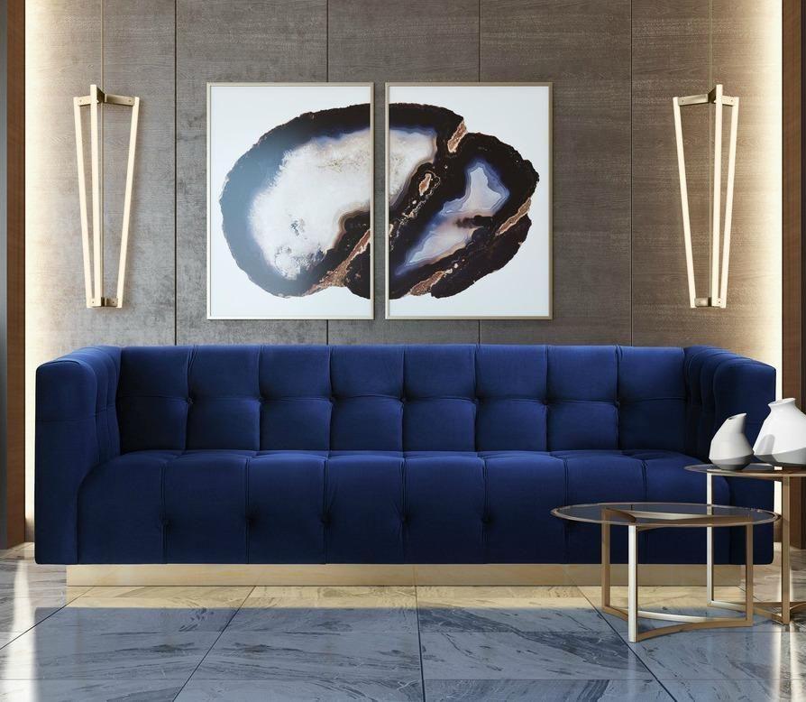 aurora luxury velvet metallic gold base glam sofa couch in 2018