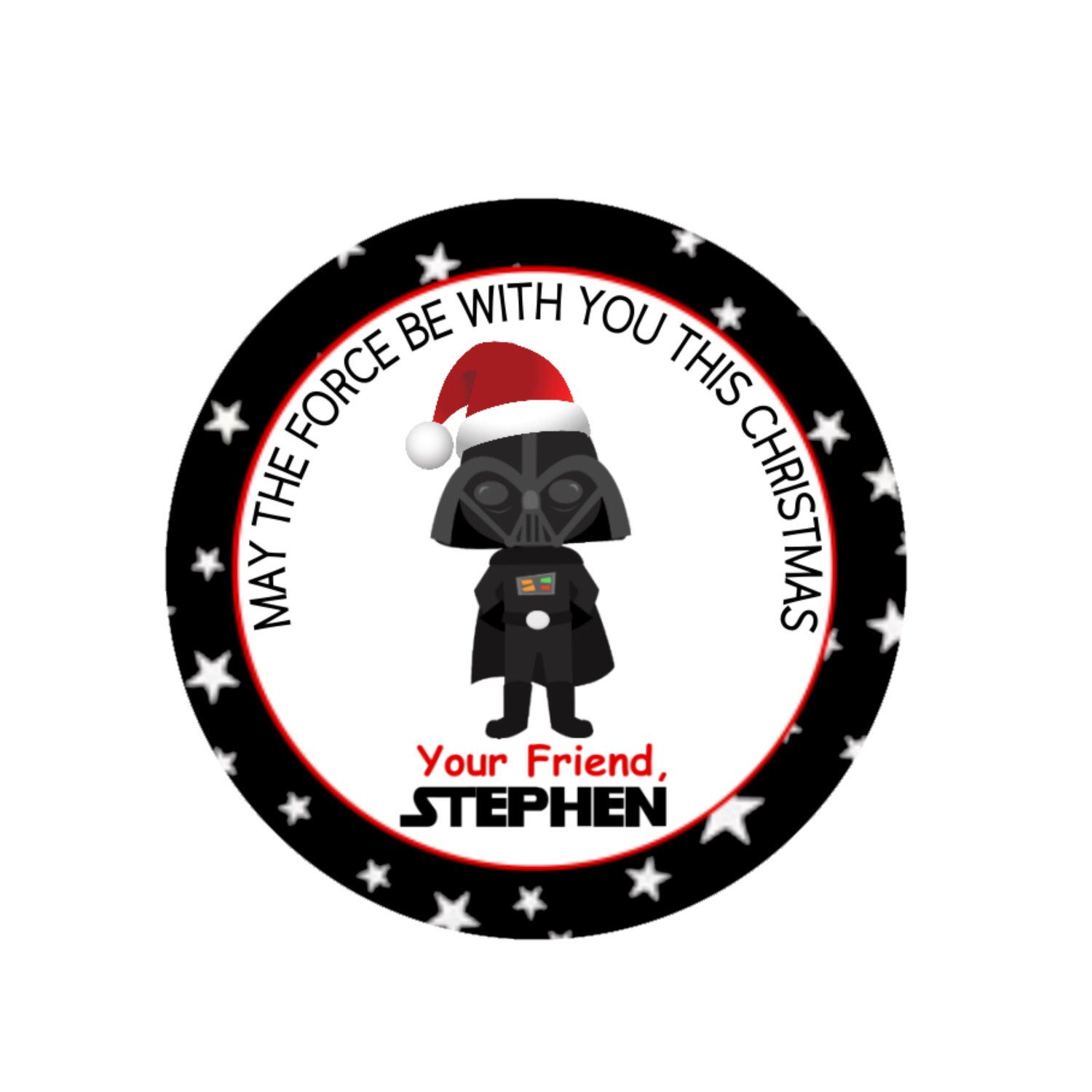 12 Printed Christmas Star Wars Stickers 2 5 Party Favor