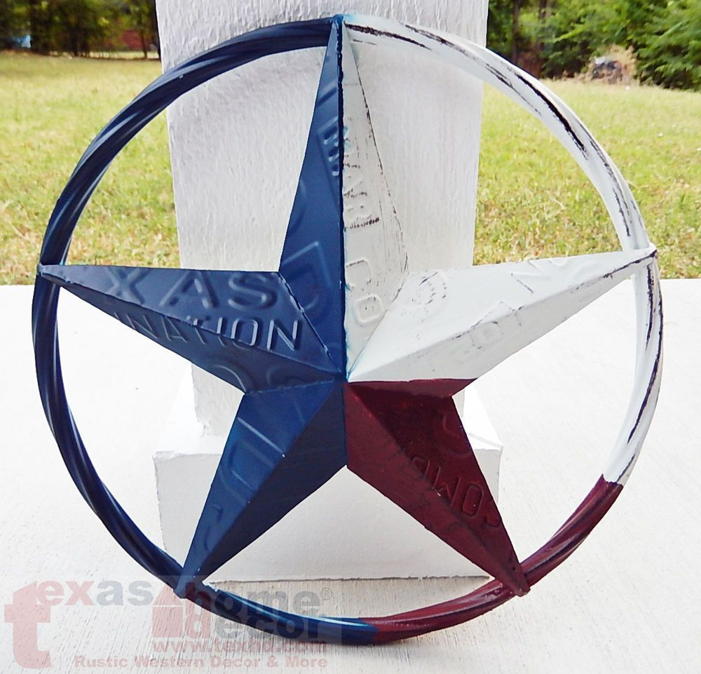 Metal Texas license plate circle with star Decor