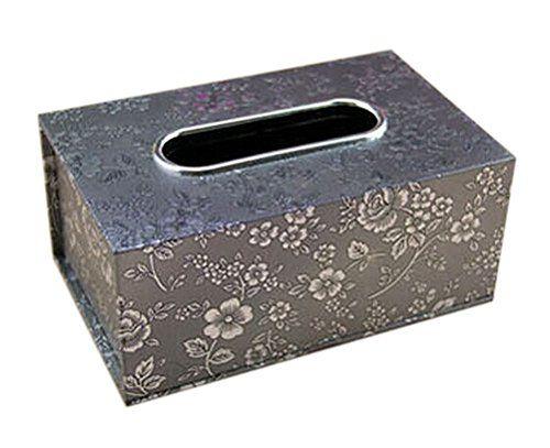 Unique Sliver Floral Leather Napkin Tissue Holder Box Cover 23x11x8cm