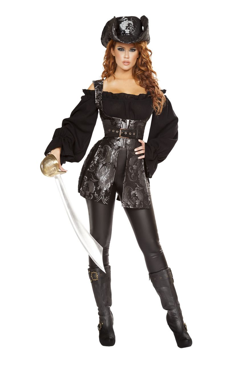 6e638f32fad Sexy Roma Black Silver Waist Cincher Pirate of the Night Swashbuckler  Captain Halloween Party Costume