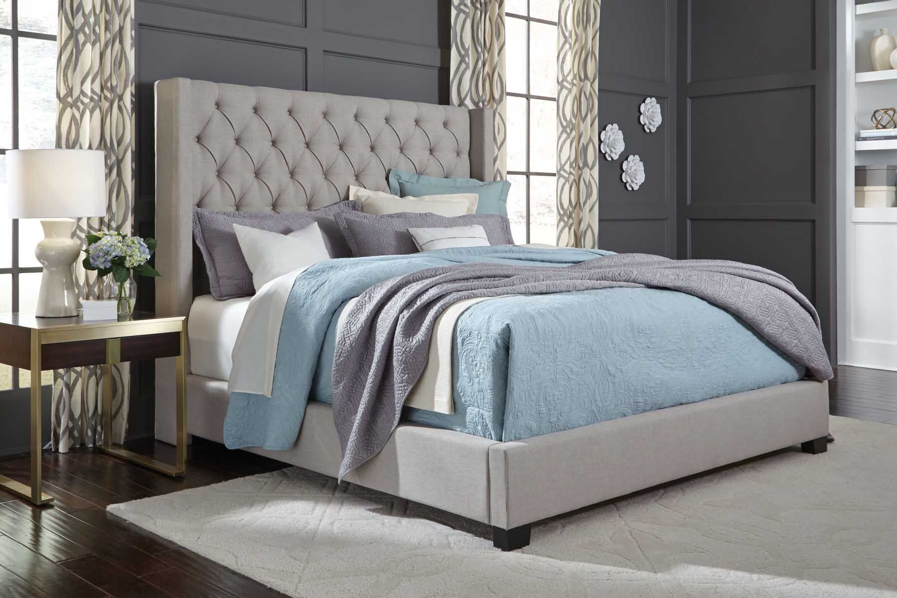 Grey Westerly Queen BedThis grand upholstered bed will be