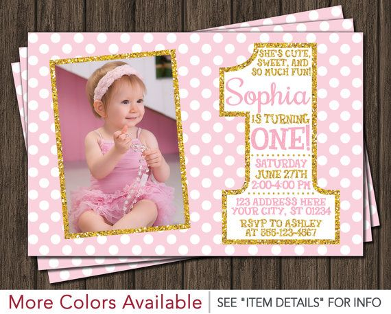 Pink and Gold First Birthday Invitation 1st por PuggyPrints