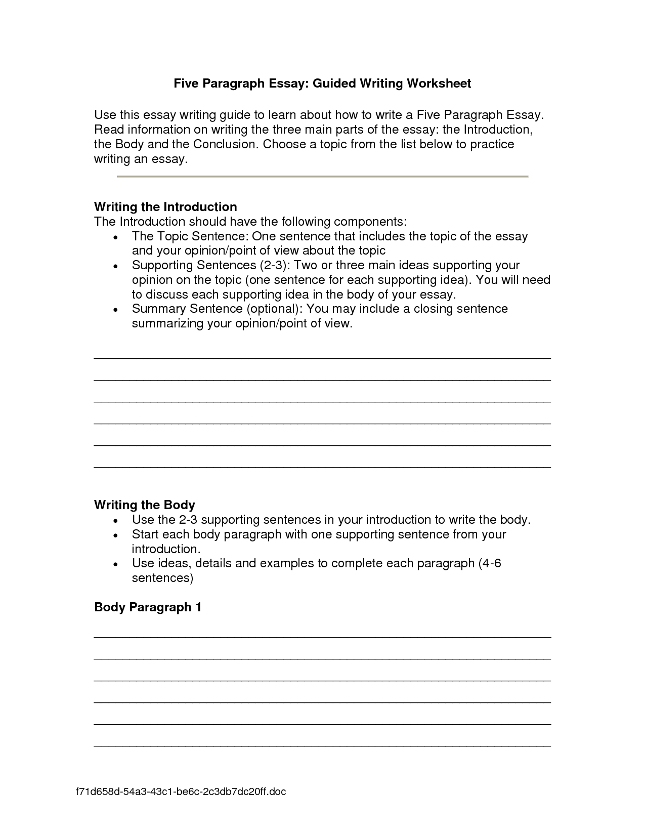 Essay Writing Worksheets