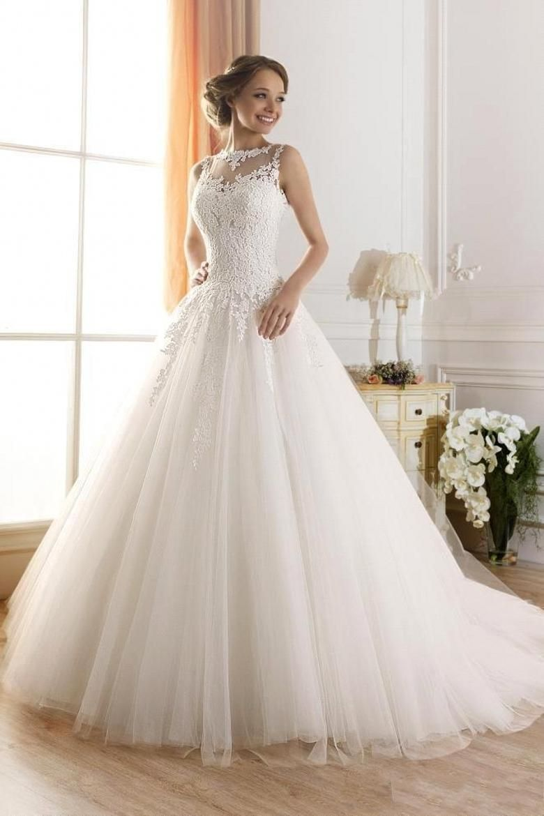 Sheer Neck Wedding Dresses 2016 New Long Tulle Lace Appliques A Line Brides Bridal Dress Hot Sale Cheap Plus Sizes Vintage Wedding Dress Wedding Dresses Collection Wedding Dresses For From Angellove_bridal, $134.13| Dhgate.Com