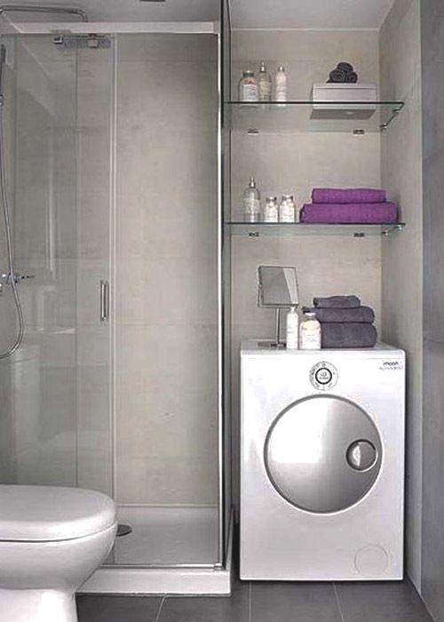 Lavadora decorativa estantes y mampara de vidrio for Repisas para banos pequenos