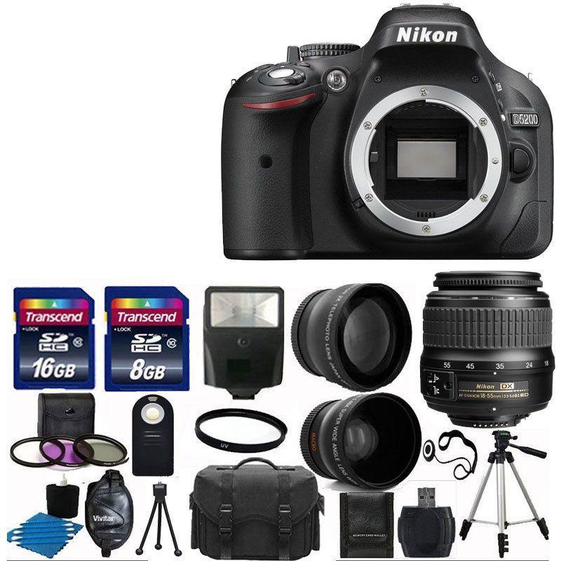 Nikon D5200 Digital Slr Camera 3 Lens 18 55mm Vr 24gb Kit More Brand New Digital Slr Digital Slr Camera Nikon