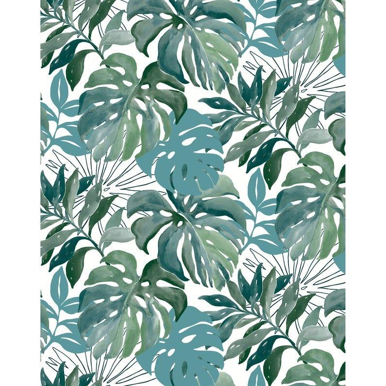 Papier Peint Intissé Jungle Aquarelle Vert Leroy Merlin