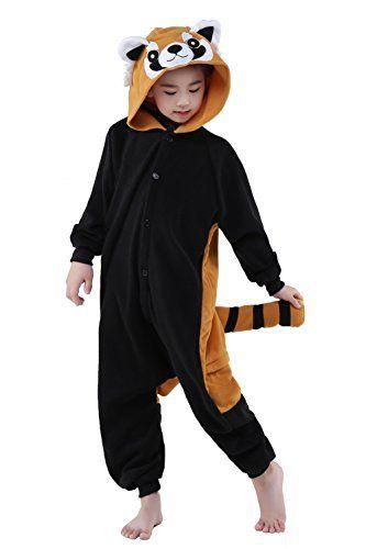 00bb3d854021 Newcosplay Unisex Children Racoon Pyjamas Halloween Onesie Costume ...
