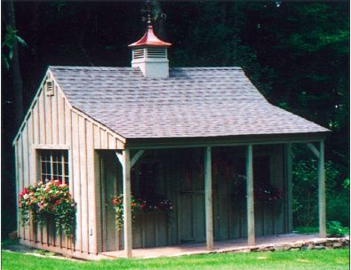 Garden Sheds Massachusetts lamore post and beam buildings - 12x16 shed with porch - deerfield