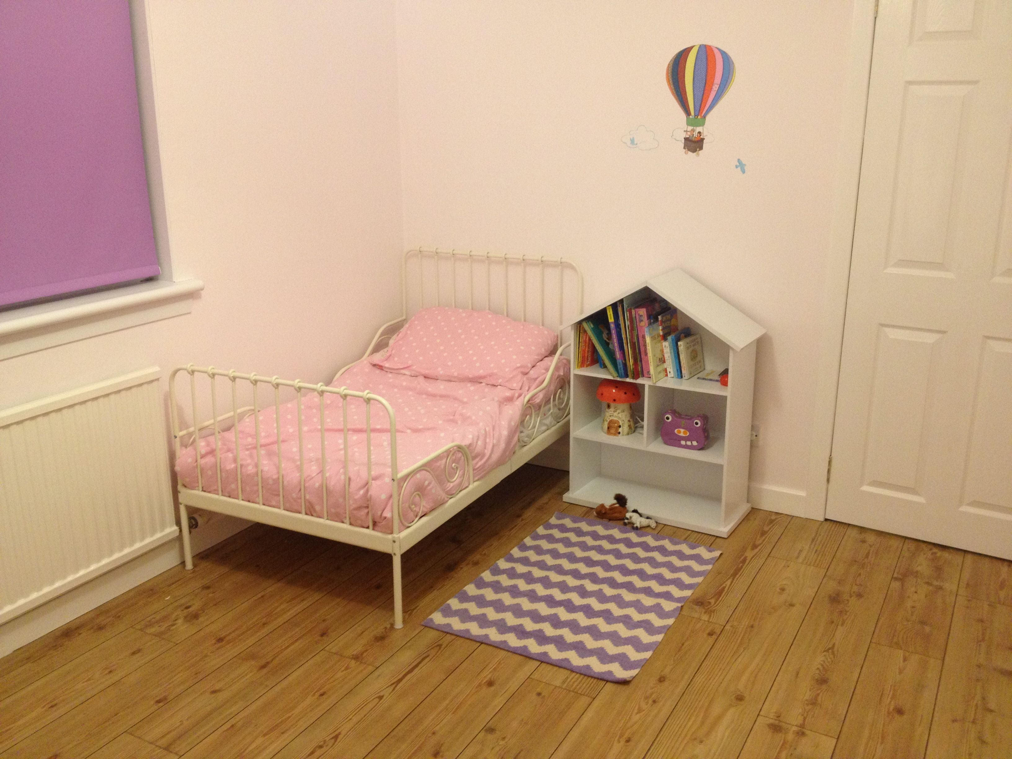 belle and boo wall stickers, ikea minnen bed | our girls' room