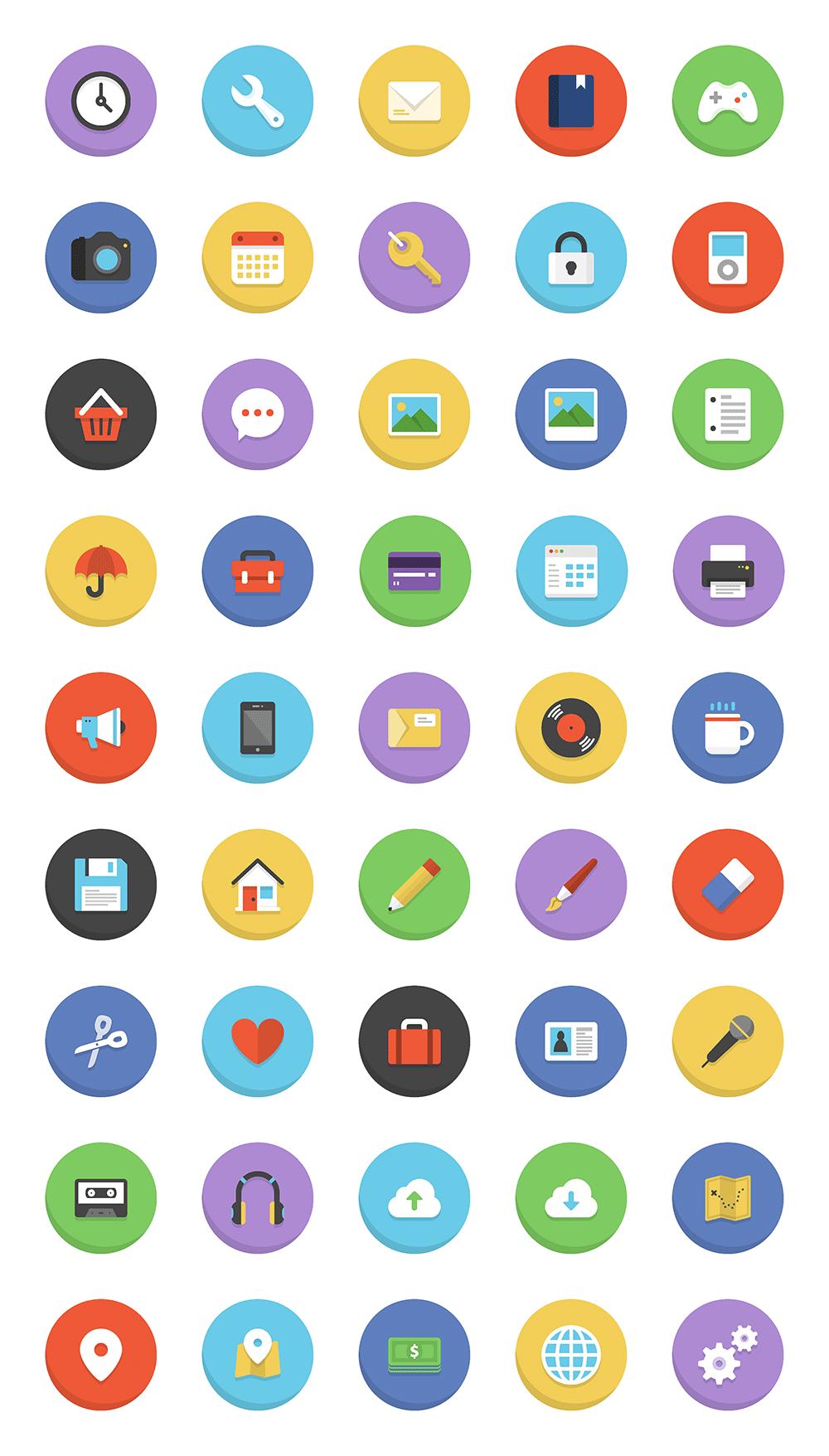 45 Colorful Flat Icons [Freebie Icon set, Icon design