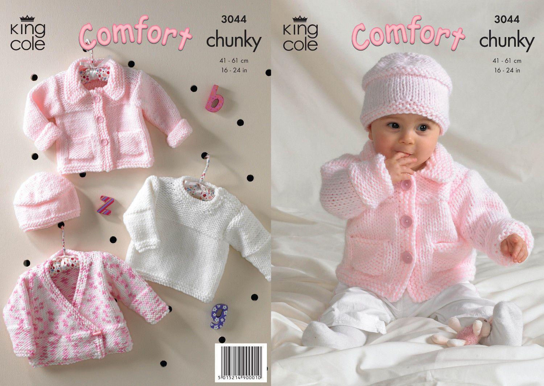 25f53b686 1 of 1  King Cole Knitting Pattern Comfort Chunky Cardigan Jacket Sweater    Hat 3044