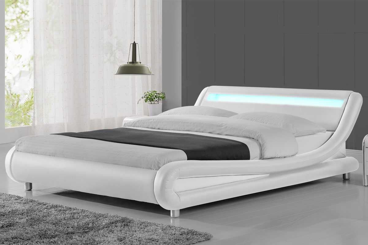 Madrid Led Lights Modern Designer White Double King Size Bed Frame