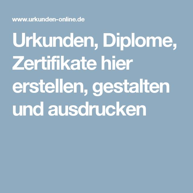 Urkunden, Diplome, Zertifikate Hier Erstellen, Gestalten