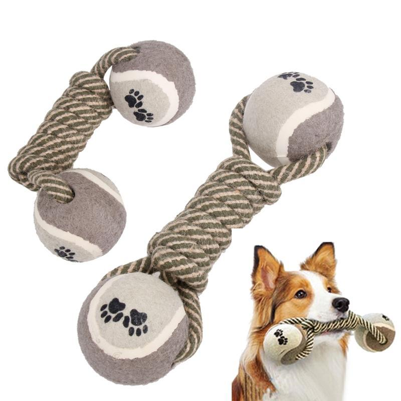 Cotton Pet Dog Rope Chew Tug Toy Knot Bone Ball Shape Pets Palying