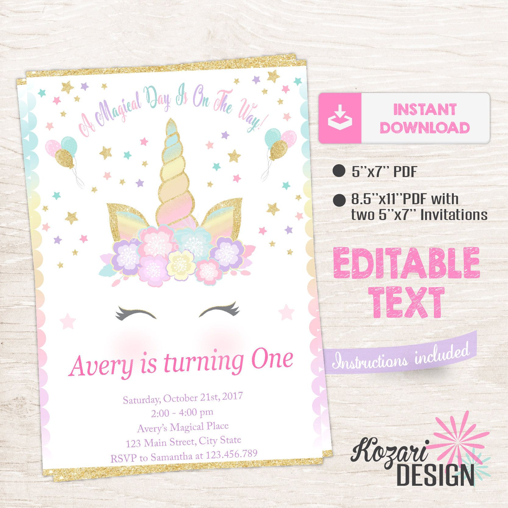 Unicorn Invitation Magical Birthday Invitation Unicorn