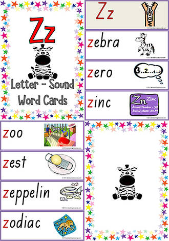 Letter Zz Words Word Cards Letter Sounds Sound Words