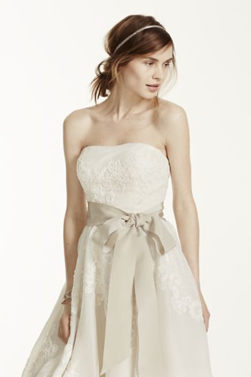Strapless satin organza ball gown features antique for Antique inspired wedding dresses