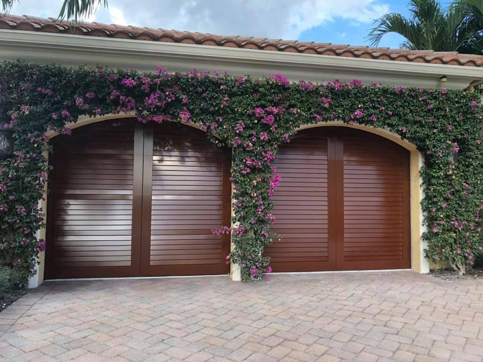 Louvered Garage Door South Florida Garage Doors Custom Louvered Garage Door Palm Beach County G In 2020 Garage Doors Residential Garage Doors Garage Service Door