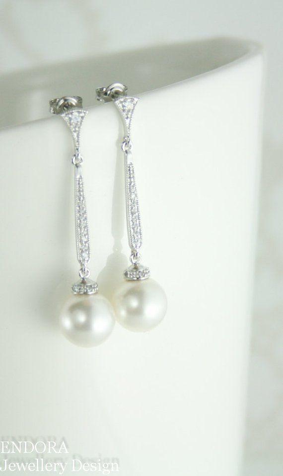 Long Pearl Earrings Bridal Pearl Drop Earrings Pearl Drop Earring