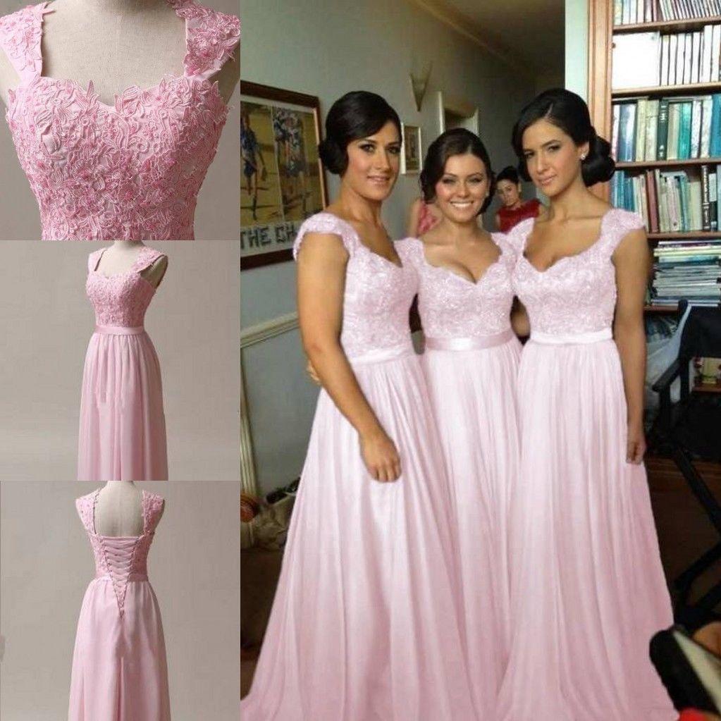 Pink chiffon corset long bridesmaids dress wedding bridal ball