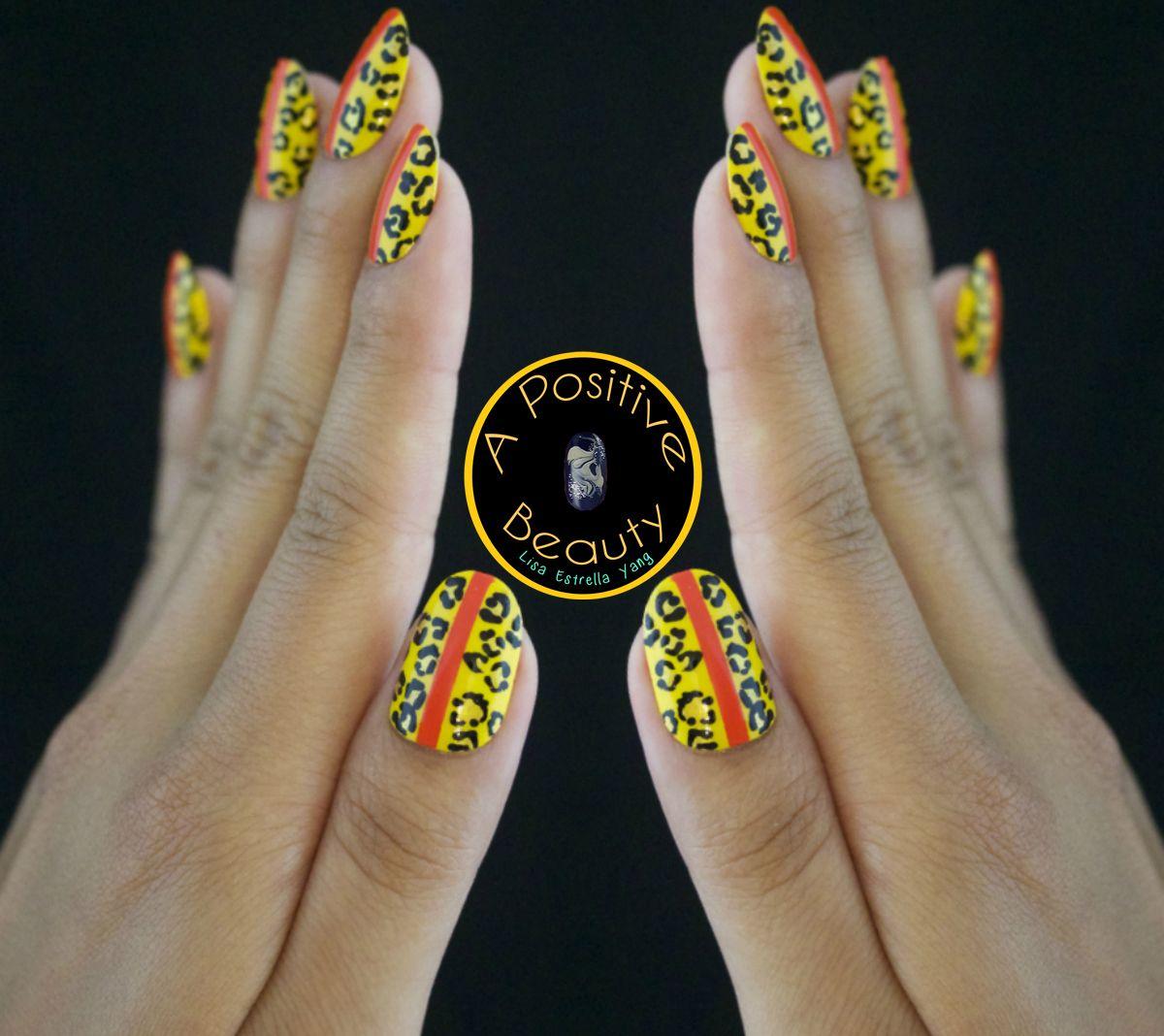Summer leopard nails! Check out more info via A Positive Beauty nail art blog.  #nailart #leopardprint #summernails #summernailart #bblogger