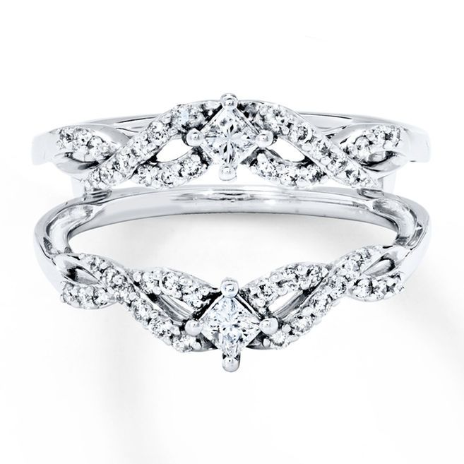 A Princess Cut Diamond And Ribbons Of Round Diamonds Adorn This Elegant Enhancer Ring Above Below Space To Insert Her Solitaire Engagement Sold